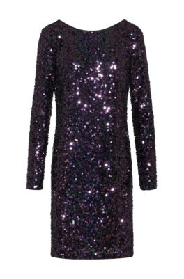 Sequined dress with long sleeves, Red