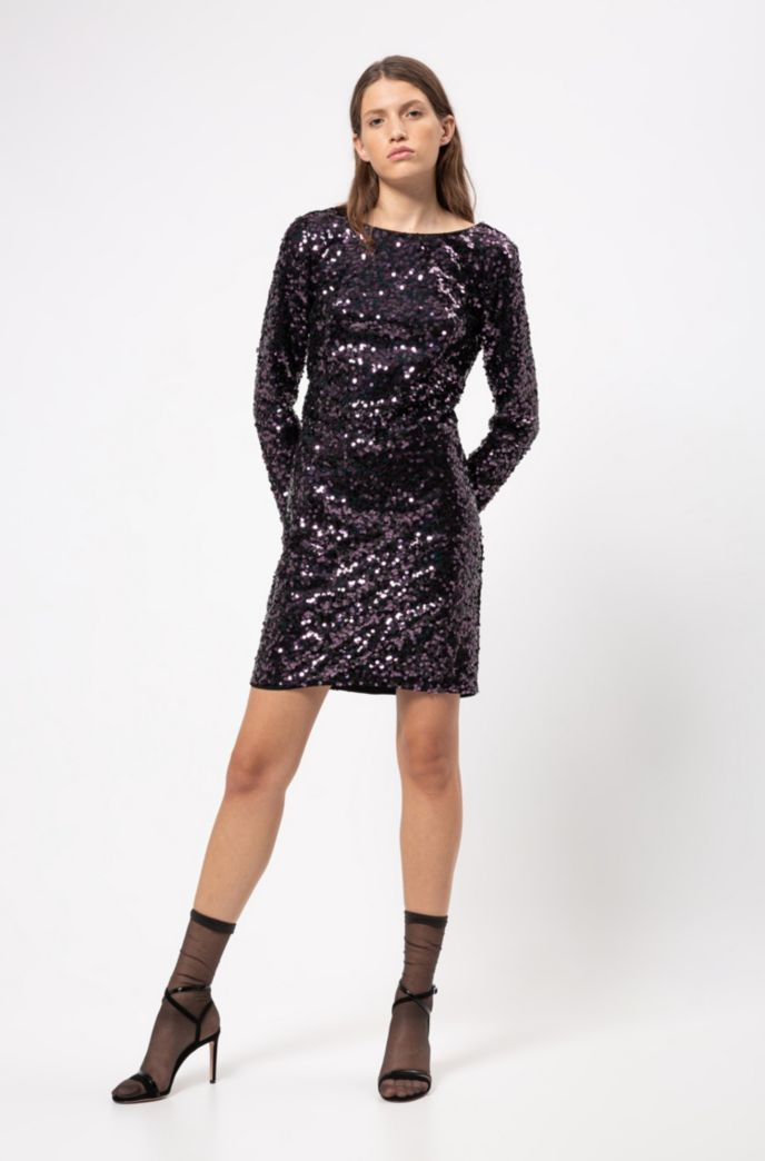 Sequined dress with long sleeves