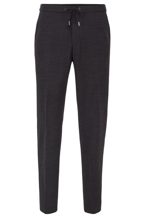 Micro-patterned slim-fit pants with drawstring waistband, Black