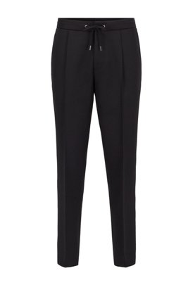 Relaxed-fit cropped pants with drawstring waist, Black