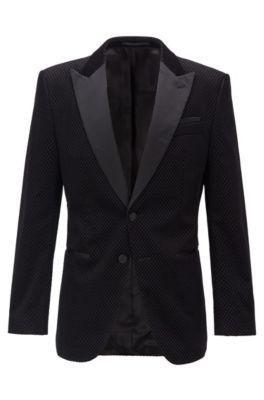 Slim-fit dinner jacket with silk trims, Black