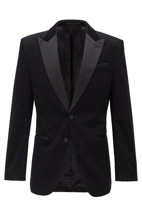 Slim-fit dinner jacket with silk trims, Black
