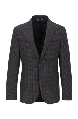Slim-fit jacket in washable virgin wool, Light Grey