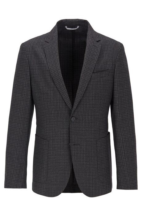 Slim-fit jacket in washable virgin wool, Open Grey