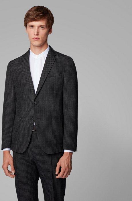 Slim-fit jacket in washable virgin wool, Open Grey