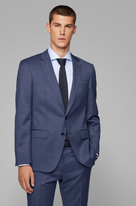 Slim-fit jacket in virgin wool with natural stretch, Open Blue