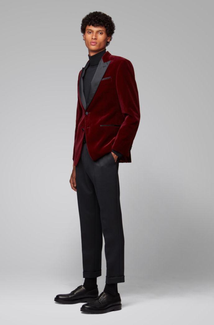 Slim-fit jacket with silk peak lapels