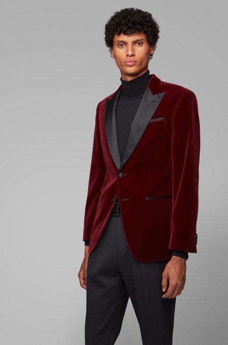 Slim-fit jacket with silk peak lapels, Dark Red