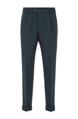 Cropped tapered-fit pants with turn-ups, Light Green
