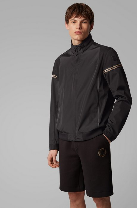 Zip-through jacket in water-repellent two-layer fabric, Black