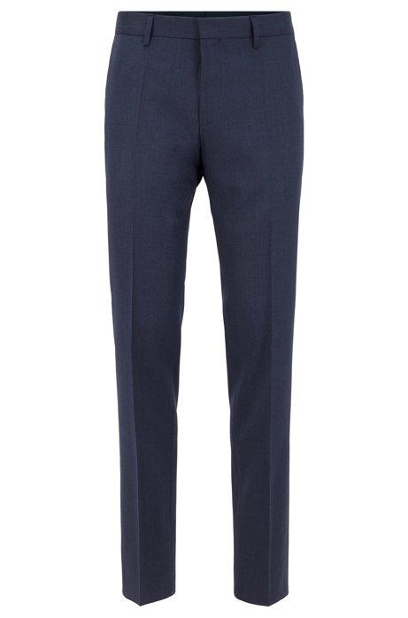 Slim-fit pants in melange virgin-wool serge, Open Blue