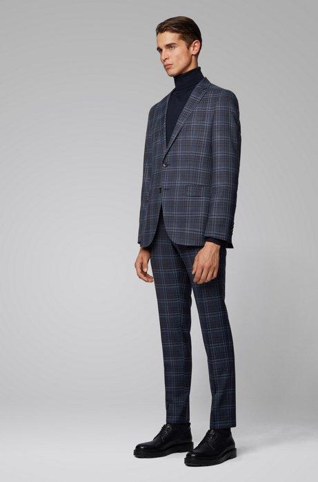 Slim-fit suit in checkered virgin wool, Dark Blue