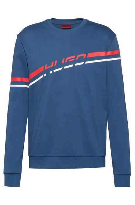 Logo sweatshirt in interlock cotton with printed stripe, Blue