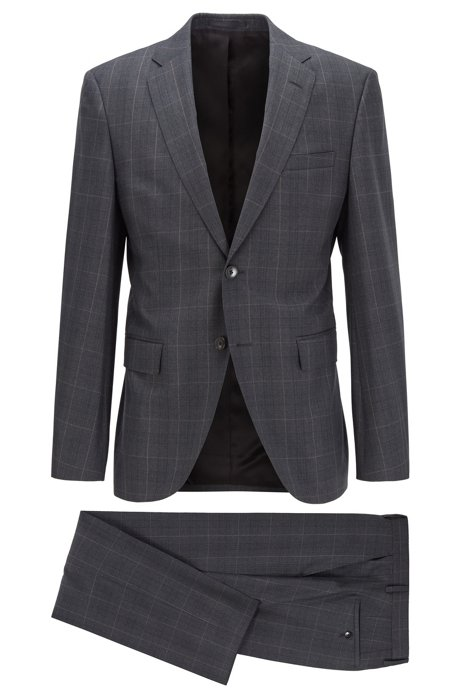 Regular-fit suit in checked virgin wool, Open Grey