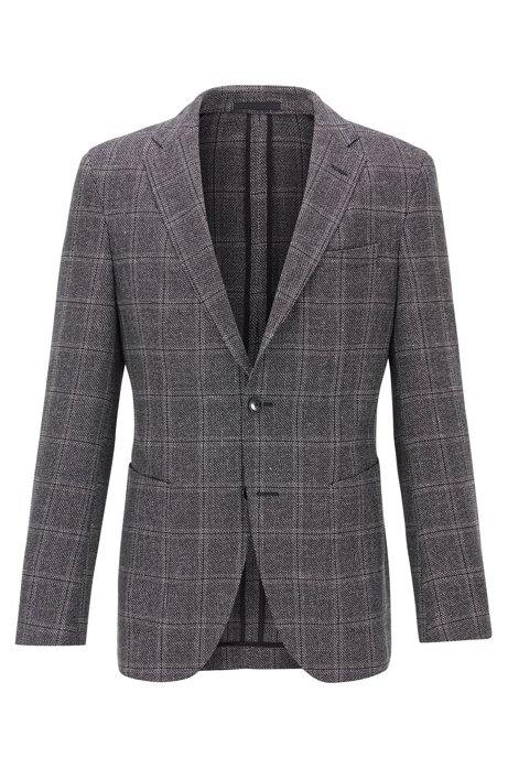 Slim-fit checked jacket in a wool-linen blend, Black