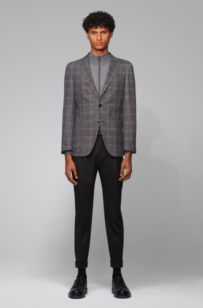 Slim-fit checked jacket in a wool-linen blend