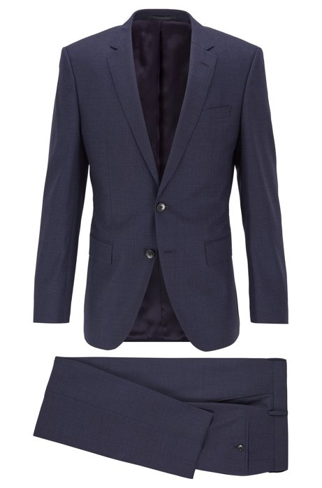 Slim-fit suit in micro-patterned virgin-wool serge, Dark Blue