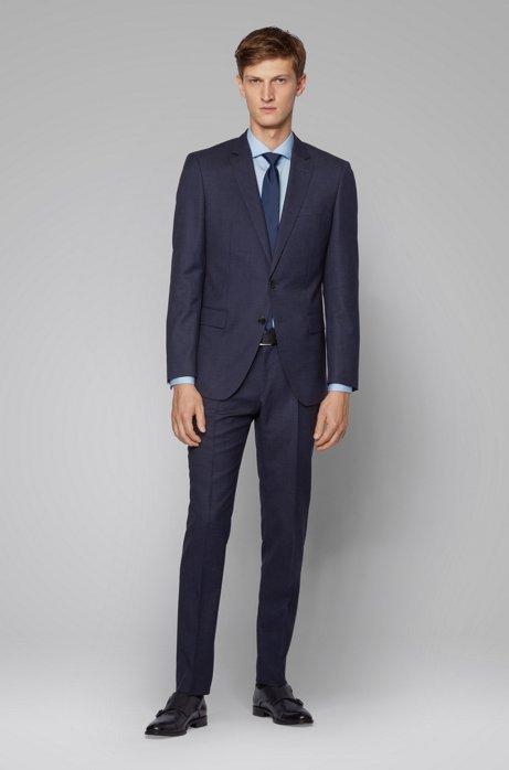 Slim-fit suit in micro-patterned virgin-wool serge, Dark Blue