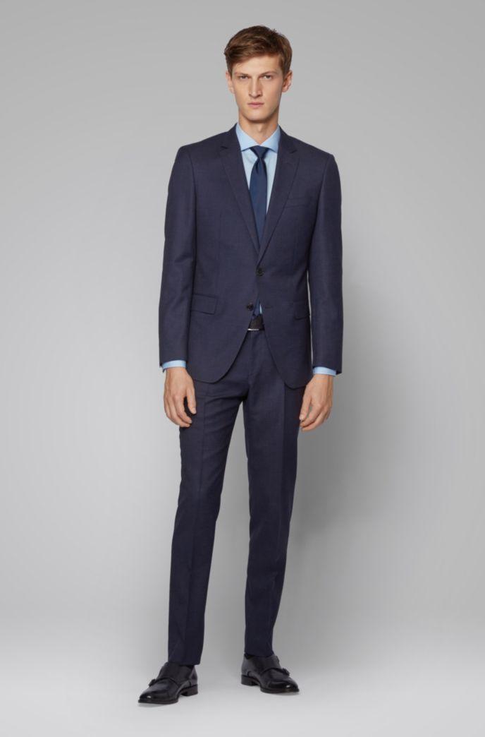 Slim-fit suit in micro-patterned virgin-wool serge