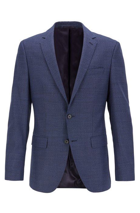 Slim-fit jacket in virgin wool with elbow patches, Dark Blue