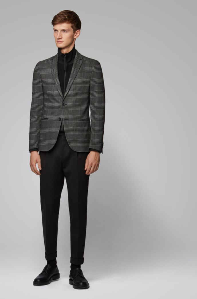 Slim-fit checked jacket in stretch jersey