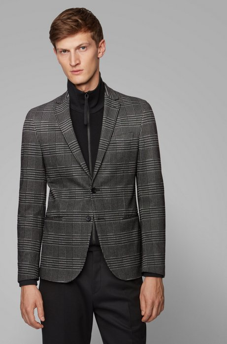 Slim-fit checked jacket in stretch jersey, Open Grey