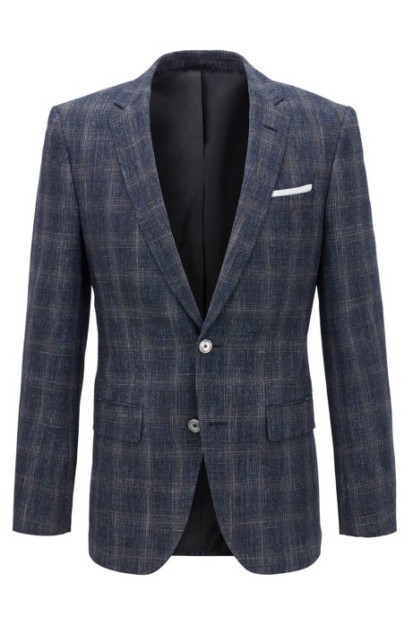 Slim-fit checked jacket in a virgin-wool blend, Dark Blue