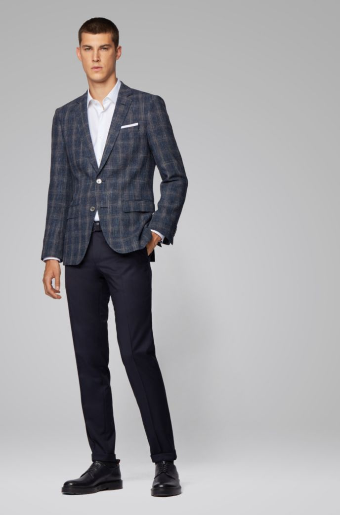 Slim-fit checked jacket in a virgin-wool blend