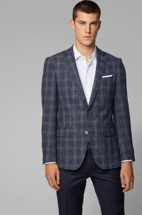 Slim-fit checked jacket in a virgin-wool blend, Dark Blue
