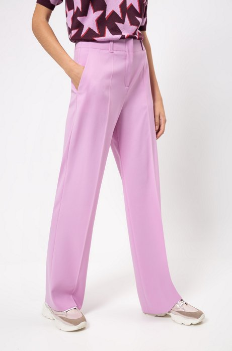 Regular-fit pants with wide leg in stretch fabric , Light Purple