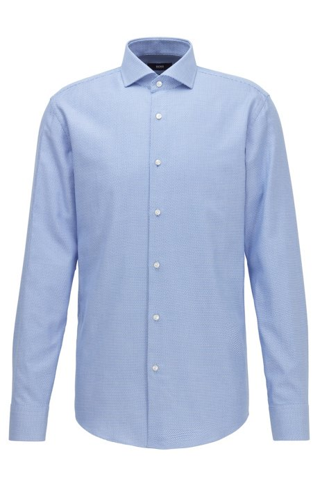 Slim-fit shirt in structured cotton twill, Blue
