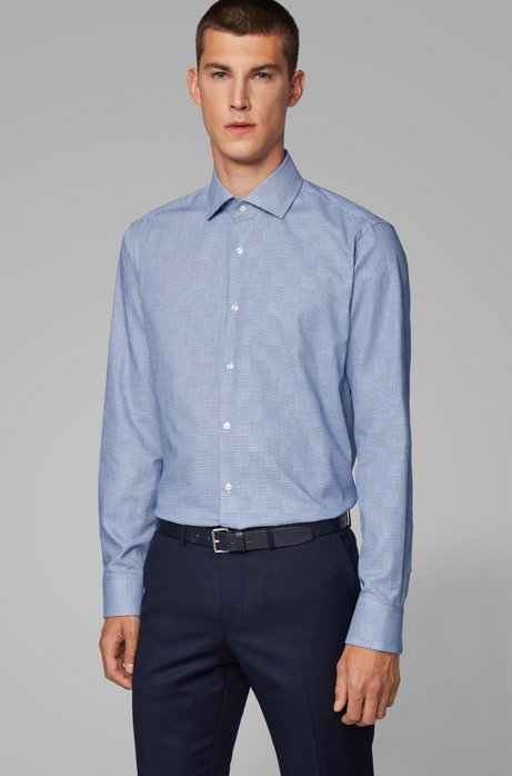 Regular-fit shirt in checked cotton, Blue