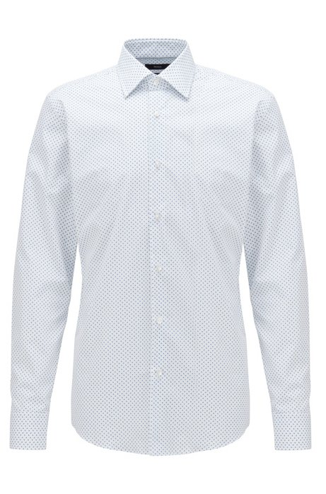 Slim-fit shirt in geometric-print cotton, White