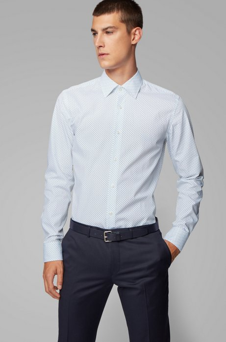 Slim-fit shirt in geometric-print cotton, White