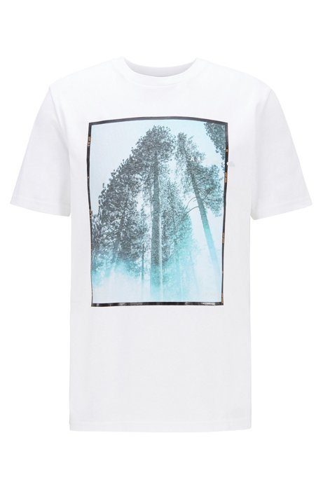 Crew-neck T-shirt in cotton with mixed-print artwork, White