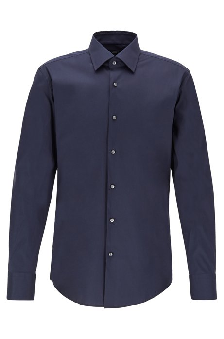 Slim-fit shirt in premium poplin with Kent collar, Dark Blue