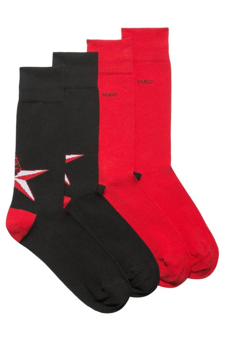 Two-pack of cotton-blend regular-length socks with color contrasts, Black