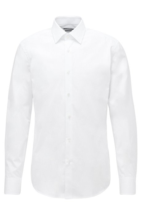 Slim-fit shirt in Italian cotton, White