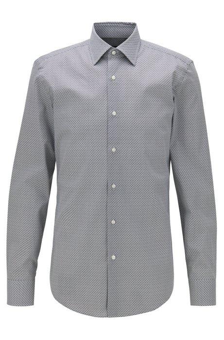 Slim-fit shirt in printed Italian cotton, Black