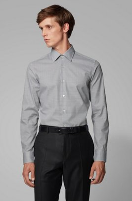 Slim-fit shirt in printed Italian cotton, Black