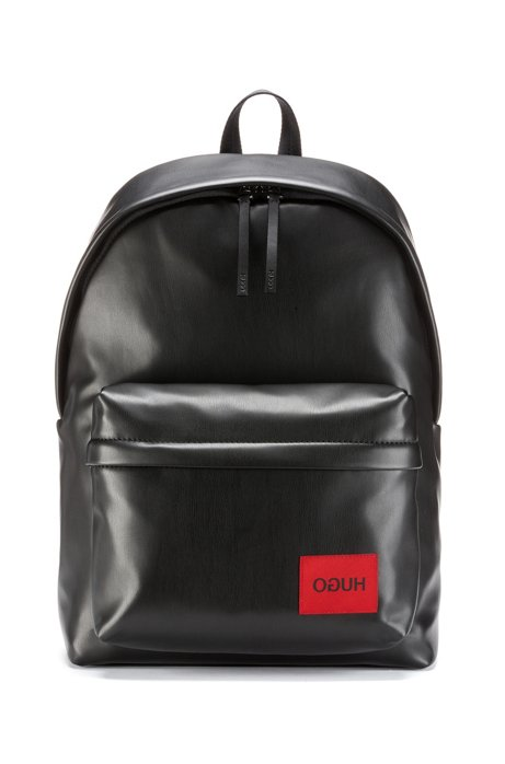 Numbered limited-edition backpack in faux leather, Black