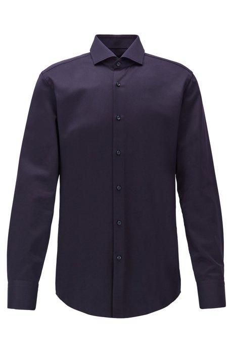 Slim-fit shirt in micro-structured Italian cotton, Dark Blue
