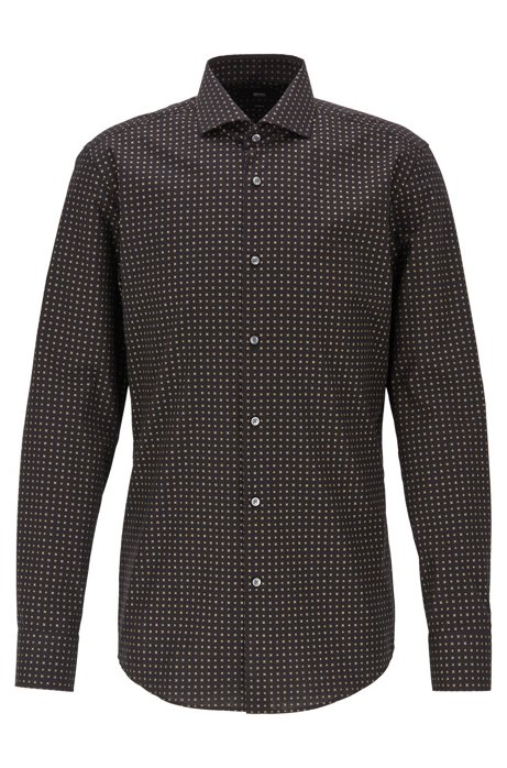 Slim-fit shirt in Italian cotton with gold print, Black