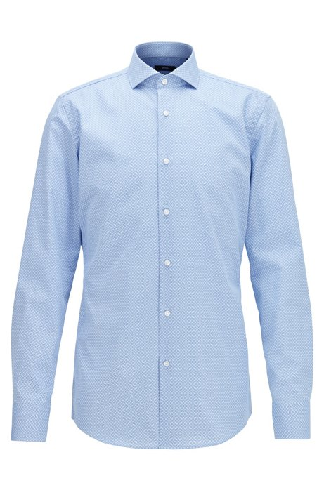 Slim-fit shirt in micro-print Fresh Active cotton, Light Blue