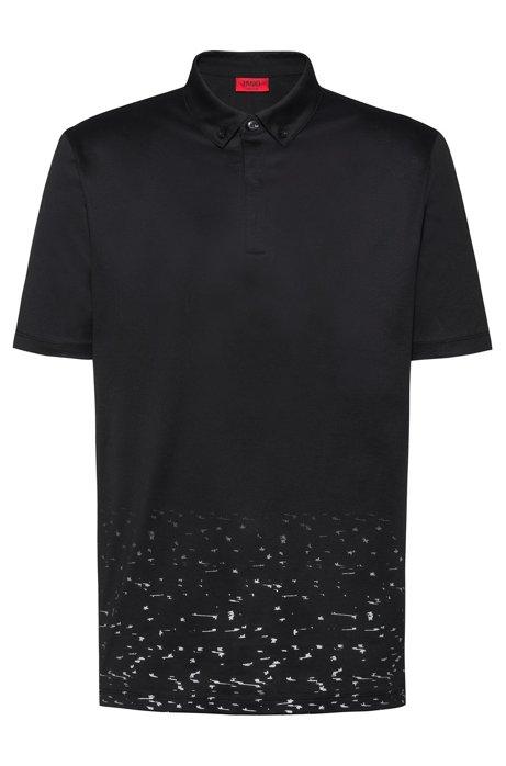 Mercerized-cotton polo shirt with stardust print, Black