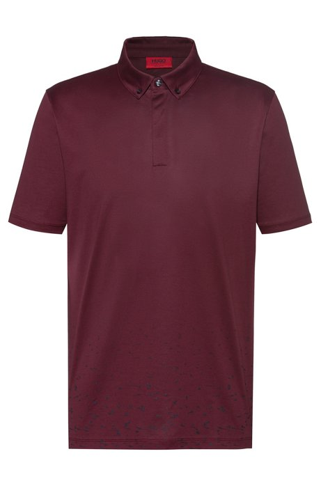 Mercerized-cotton polo shirt with stardust print, Dark Red