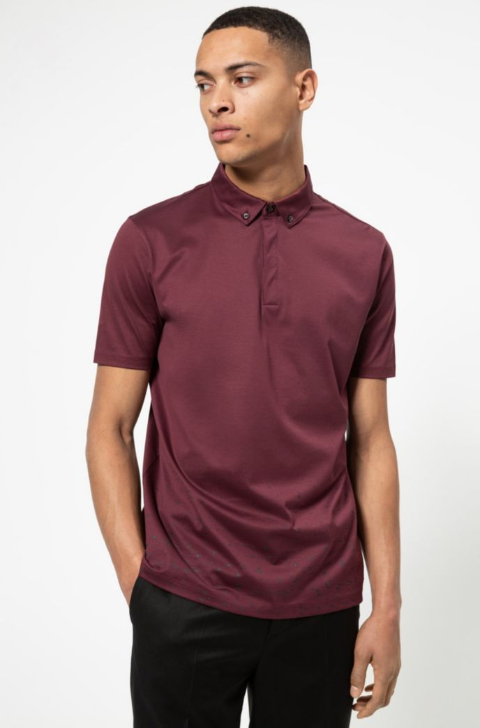 Mercerized-cotton polo shirt with stardust print