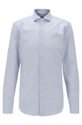 Slim-fit shirt in striped Swiss cotton with stretch finish, Blue