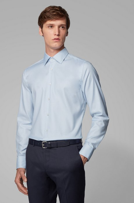 Slim-fit shirt in Swiss cotton with natural stretch, Light Blue