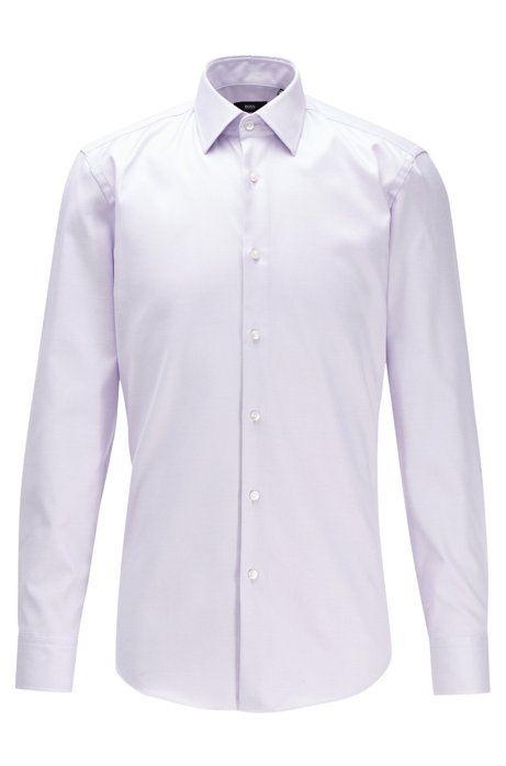 Slim-fit shirt in Swiss cotton with natural stretch, Light Purple